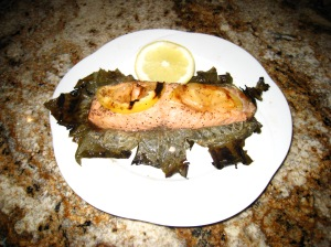 Grilled Salmon in Grape Leaf
